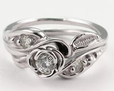 Tea Rose wedding set, white gold and diamond, by Wexford Jewelers