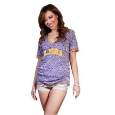 LSU Deep V-Neck Burnout Tee