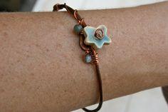 copper & porcelain flower bangle by earthformsbymarie on Etsy, $22.00