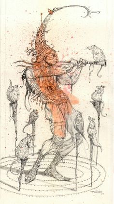 pied piper - Ferhat Edizkan Nursery Book, Nursery Rhymes, Girls Characters, Fantasy Characters, Brothers Grimm, Illustration Art, Illustrations, Screenprinting, Archetypes