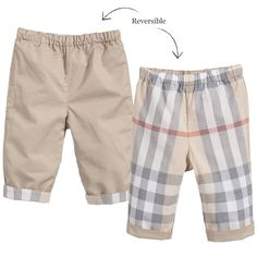 Burberry Baby Boys Beige Check Reversible Cotton Trousers Burberry Baby Boy, Burberry Kids, Baby Boys, Kids Boys, Baby Boy Outfits, Kids Fashion, Career, Runway, Trousers