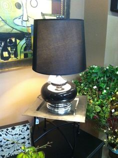 A black and silver lamp is a great addition to any color room. Adds class and a little bling too!