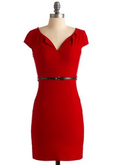 And We're Live Dress - Red, Solid, Sheath / Shift, Cap Sleeves, Mid-length, 30s, 40s, 50s, Party, Pinup, Vintage Inspired