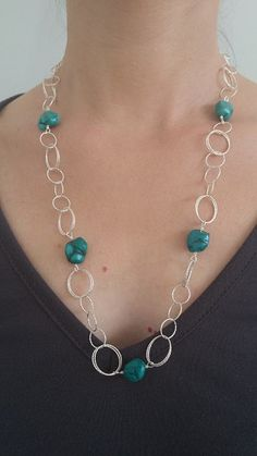 Elegant Necklace Natural High-Grade Turquoise With 925 Sterling Silver Chain