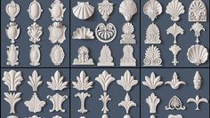 Architectural kit bash collection of 218 composite ornaments including elements such as: decorative leaves, acanthus leaves simple french cartuches and various scroll and shell elements. 10$