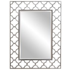 The lucky Irish Rectangle Mirror is finished in stunning brushed nickel and features an open cut work clover-shaped frame. This unique piece is sure to add a one of a kind flair to any contemporary decor.