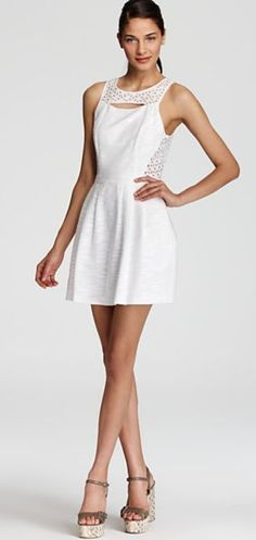 Lightly textured cotton lends a crisp look to Ali Ro's eyelet-adorned Jolene dress. Little White Dresses, Eyelet Dress, Wedding Gowns, My Style, Cotton, Ali, Clothes, Lovely Things, Work Outfits