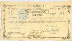 Pieza brv5ps-aa01c2-b4 (Anverso). Billete de la República de Venezuela. 5 Pesos sencillos. Diseño A, Tipo A. Provincia de Yaracuy. Fecha Noviembre 25 1860. Serie B4
