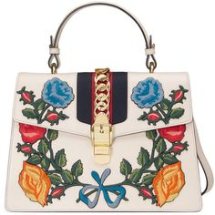 Gucci Sylvie Embroidered Leather Top Handle Bag ($3,500) ❤ liked on Polyvore featuring bags, handbags, white, genuine leather handbags, flower purse, leather purses, leather handbags and genuine leather purse
