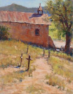 Church at Cañoncito (pastel, 8×14) Lorenzo Chavez, American landscape paintings | ArtistsNetwork.com