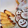 Biscuits Halloweeen : doigts de sorcière et sablés choco décorés.