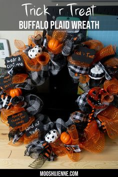 This Trick 'r Treat buffalo plaid wreath is based on the movie. It's a horror flick that also goes through the traditions of Halloween. Learn below how to make this adorable Halloween buffalo plaid wreath. Tool Wreath, Frame Wreath, Diy Wreath, Mesh Wreaths, Wreath Ideas, Halloween Ribbon, Fun Halloween Crafts, Halloween Decorations, Halloween Party