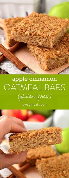 Apple Cinnamon Oatmeal Bars are a healthy, gluten-free breakfast or snack recipe that taste decadent but are made without refined sugar. These are a hit with kids! | iowagirleats.com