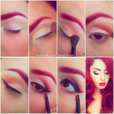 Modern red-head pinup. This makeup is gorgeous♥