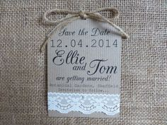 Lace Save the Date tag - Wedding - handmade - pearl - kraft card - rustic twine on Etsy, £1.50