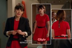 Zooey Deschanel's Red dress with exposed zip and bow belt.  Outfit Details: http://wwzdw.com/z/3006/ #WWZDW