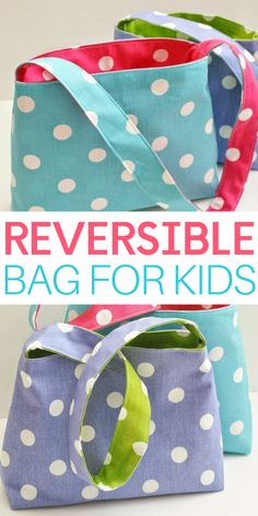 Want to know what's even better than a cute, brightly-colored bag sized just right for your little sweeties? Yep, that's right, an equally adorable bag that is REVERSIBLE! Learn how to make a reversible bag for kids with this easy tutorial. Sewing Projects For Beginners, Sewing Tutorials, Sewing Crafts, Sewing Patterns, Sewing Tips, Sewing Hacks, Easy Kids Sewing Projects, Bag Patterns, Knitting Patterns