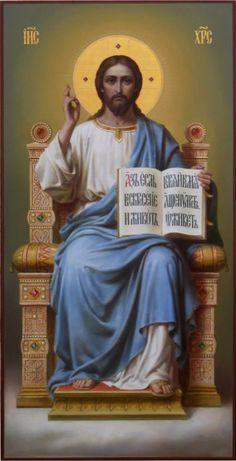 Спаситель на престоле, икона в академическом стиле