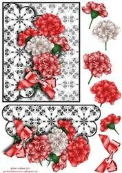 Red & White Carnations Scallop Envelope Card Front