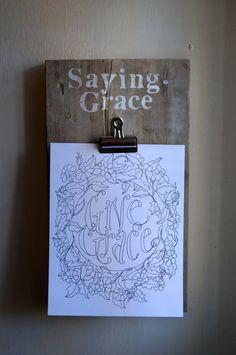 Saying Grace Clip Board  Vintage Reclaimed Wood by kijsa on Etsy