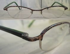 514ec95dea Vintage Kate Spades Made in Italy green temples tortoise half rimless  rectangular eye glasses frames women