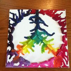 Peace sign crayon art