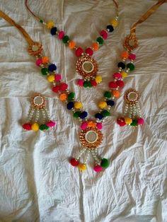 Thread Bangles, Thread Jewellery, Fabric Jewelry, Jewellery Making, Kids Jewelry, Jewelry Crafts, Handmade Jewelry, Gota Patti Jewellery, Flower Jewellery For Haldi