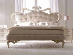 Leather double bed with upholstered headboard MELISSA SOFT Elegance Collection by CorteZari