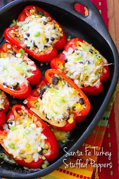 Santa Fe Turkey Stuffed Peppers - I probably have a bunch of stuffed pepper recipes already pinned but this sounds really yummy! Turkey Recipes, Mexican Food Recipes, Turkey Dishes, Cooking Recipes, Healthy Recipes, Cooking Tips, Avocado Recipes, Healthy Food, Healthy Eating