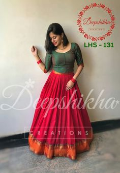 LHS - 131 For queries kindly WhatsApp : 9059683293 Half Saree Designs, Lehenga Designs, Saree Blouse Designs, Dress Designs, Indian Attire, Indian Outfits, Indian Designer Outfits, Designer Dresses, Long Gown Dress