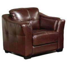 """Perfect as an accent for the living room seating group or your reading nook decor, this handsome leather arm chair showcases a tufted design and rich burgundy upholstery.   Product: ChairConstruction Material: Top grain leather, high density foam, kiln-dried wood and solid hardwoodColor: Dark burgundy and espressoFeatures:  Back cushions are detachable via VelcroSewn-in pillows on insides of armrests18"""" Seat height 22"""" Seat depth Tufted design  Dimensions: 35"""" H x 42"""" W x 36"""" ..."""