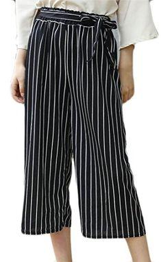 30aba4054298 KaWaYi Women s Mid-Waist Waistband Summer Loose Wide Leg Capri Pants