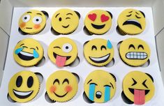 Sunday: when all the emojis apply. School Cupcakes, Kid Cupcakes, Fondant Cupcakes, Cupcake Party, Cupcake Cakes, Luau Cookies, Candy Cookies, Unicorn Cupcakes Toppers, Emoji Cake