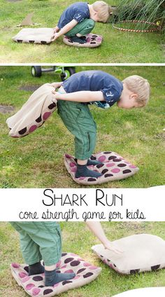 preschool activities gross motor Shark Run Game for Kids - FSPDT Shark Run Core Strength Game for Kids Gross Motor Activities, Movement Activities, Gross Motor Skills, Summer Activities, Preschool Activities, Proprioceptive Activities, Summer Games, Group Activities, Summer Fun