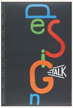 The word DESIGN written vertically and with letters in varied colors on a black background. Below, in white: TALK.