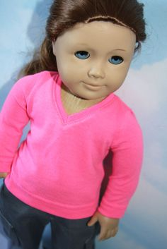 """18"""" American Girl Doll Neon Pink V-Neck Shirt and Gray Cargo Pants 