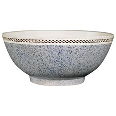 A Charming English Pottery Light Blue Mocha Bowl  HEIGHT:	3.25 in. (8 cm) DIAMETER:	7.75 in. (20 cm) DEALER LOCATION:	Maryknoll, NY NUMBER OF ITEMS:	1 REFERENCE NUMBER:| From a unique collection of antique and modern bowls at https://www.1stdibs.com/furniture/dining-entertaining/bowls/