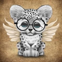 Snow Leopard Cub with Fairy Wings Wearing Glasses Cute Animal Drawings, Cartoon Drawings, Cute Drawings, Cute Cartoon Animals, Cute Animals, Funny Animal Pictures, Cute Pictures, Animals And Pets, Baby Animals