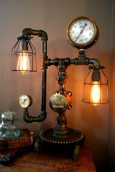 This one below is Carling's aviation-inspired Machine Age Lamp: it's made with a salvage airplane part! Description from politiwidgets.net. I searched for this on bing.com/images