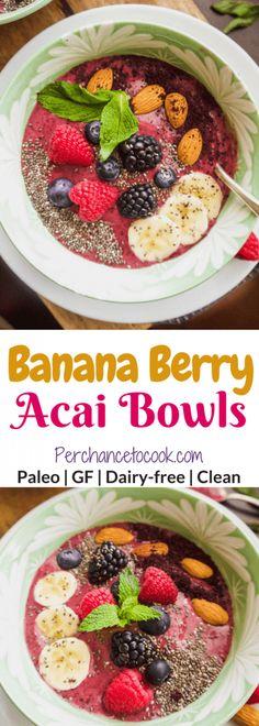 Banana Berry Acai Bowls (Paleo, GF) | Perchance to Cook, www.perchancetocook.com