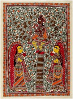 His Mesmerizing Tunes - Krsna fluting from a tree flanked by 2 female devotees. Madhubani paintings are made from the paste of powdered rice. An ancient regional traditional art form produced by woman. Indian Artwork, Indian Folk Art, Indian Art Paintings, Kerala Mural Painting, Madhubani Painting, Popular Art Paintings, Batik Art, Traditional Paintings, Traditional Art