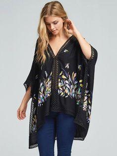 #AdoreWe StyleWe Kimonos - Oh! So Cali Clothing Lace Trim Graphic Printed Casual Shift Batwing Kimono - AdoreWe.com