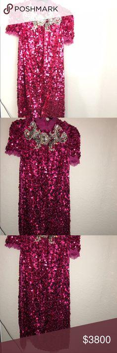 Dolce & Gabbana pink large sequins dress Rosa shocking Dolce & Gabbana Dresses Midi
