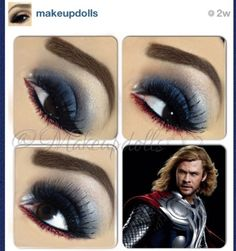 """""""Thor"""" makeup inspired by @makeupdolls, #falseeyelashes style #NTR09 is being used."""