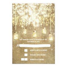 Mason Jar Wedding RSVP  String lights mason jars wedding RSVP cards
