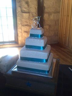 """Simply Elegant Square Wedding Cake with a bit of """"bling""""."""
