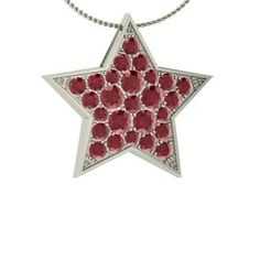 Round Ruby  Nature Necklace in 14k White Gold