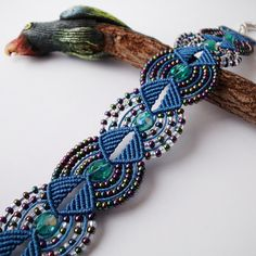 Beaded macrame bracelet Dark Blue Gasoline color by MartaJewelry