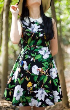 Sweet Flowers Printing Peter Pan Collar Sleeveless Dress