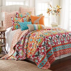 Design a bohemian inspired bedroom with this Levtex Taryn quilt set. In red. Bohemian Bedroom Inspiration, Decor, Bedroom Orange, Bedroom Decor, Comforter Sets, Home, Bedroom Inspirations, Bedding Sets, Home Decor